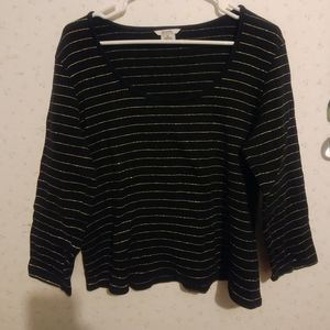 Cropped 3/4 Sleeve Gold Striped top